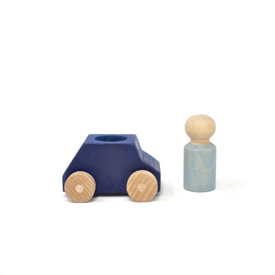 Blue wooden car with grey figure