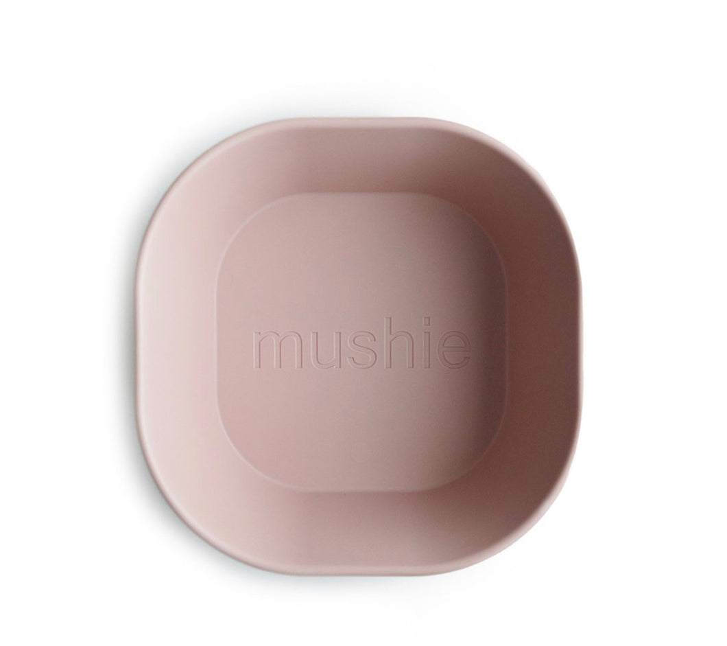 Square dinnerware bowls, set of 2 - blush