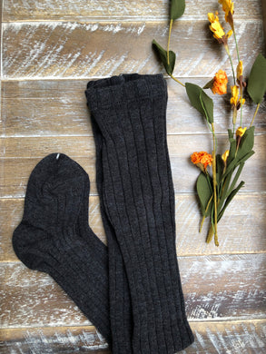 Charcoal grey ribbed tights