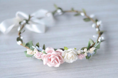 Blush + ivory boho flower crown