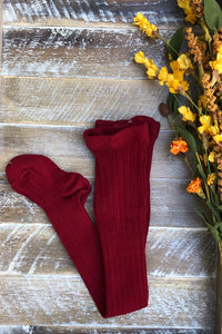 Burgundy ribbed tights
