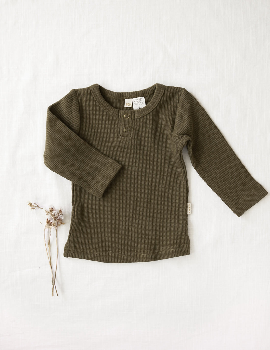 Willow cotton waffle top - olive