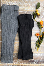 Load image into Gallery viewer, Charcoal grey ribbed tights
