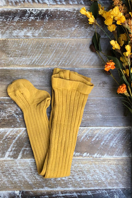 Mustard ribbed tights