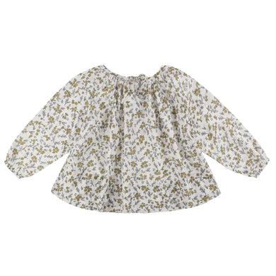 Olive smock yellow meadow floral