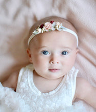 Load image into Gallery viewer, Blush & burgundy flower headband