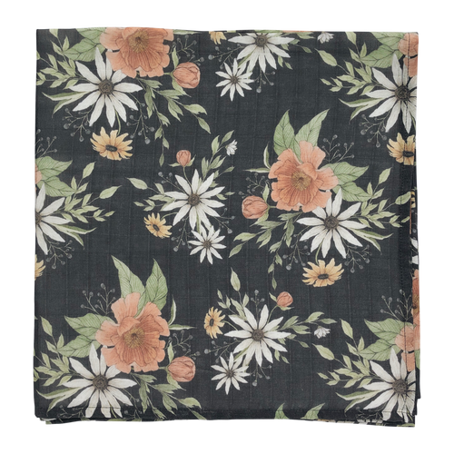 Spring blossom swaddle - charcoal
