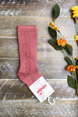 Terra-cotta side crochet knee high socks