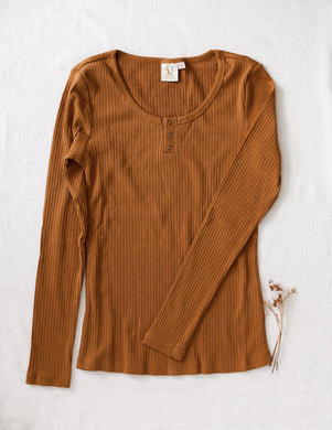 Ladies Willow ribbed cotton top - acorn