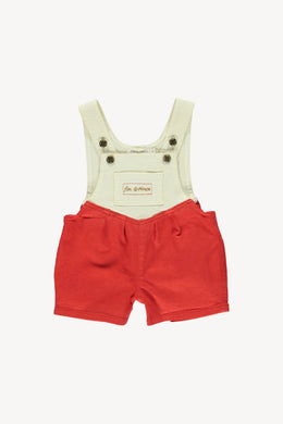 Denim short overall - brick red/ vanilla