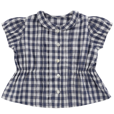Dolly blouse - gingham in ink blue