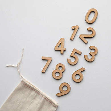 Wooden Number Set • Numerals & Math Equation Signs, Maple