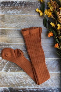Rust ribbed tights