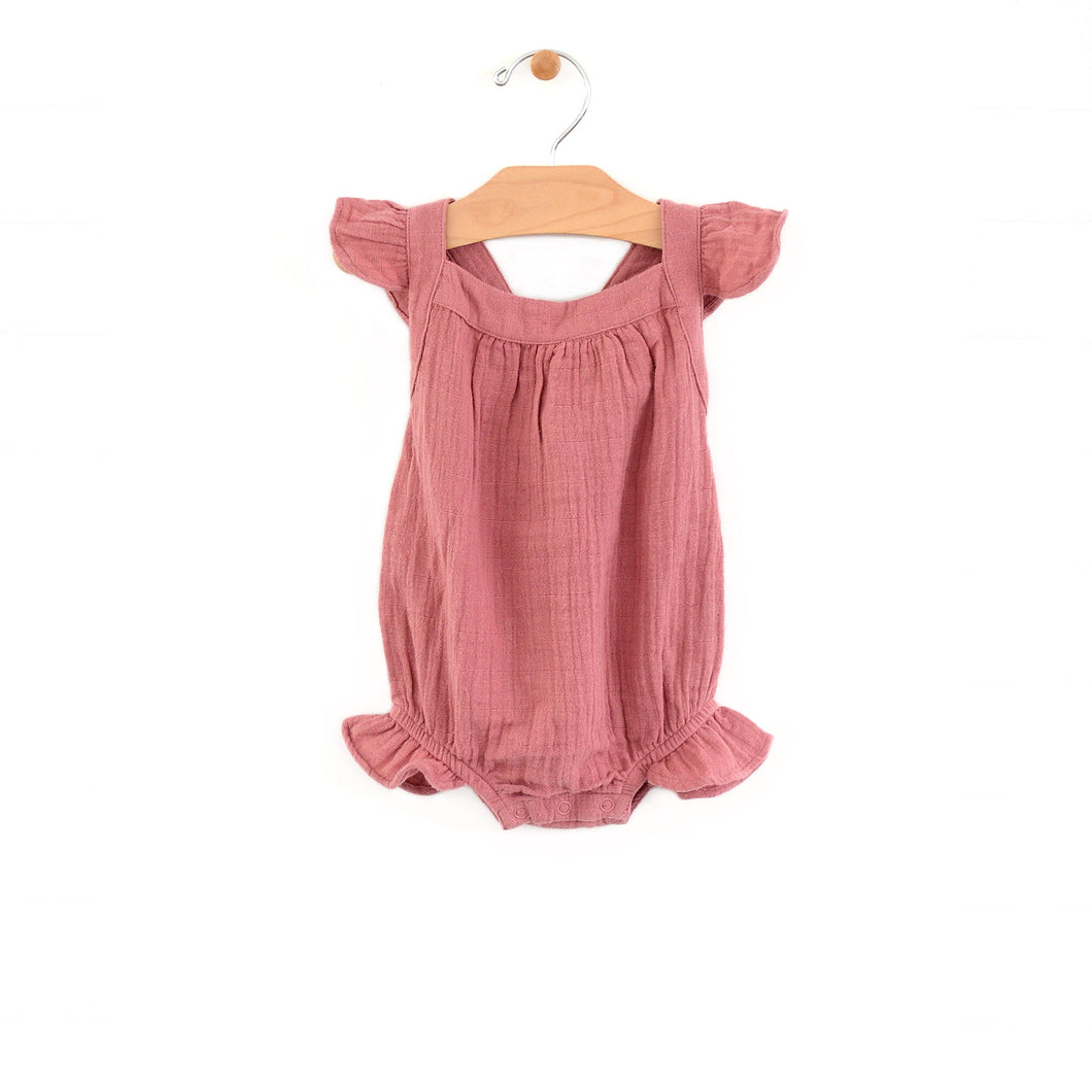 Muslin bubble romper - sunset rose