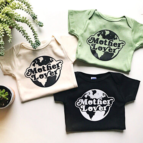 Mother lover short sleeve onesie / tee - sage