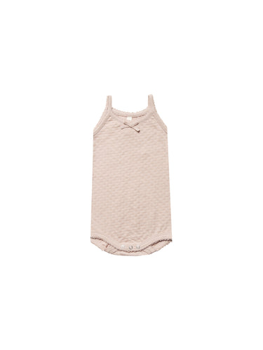 Quincy Mae pointelle tank onesie - rose