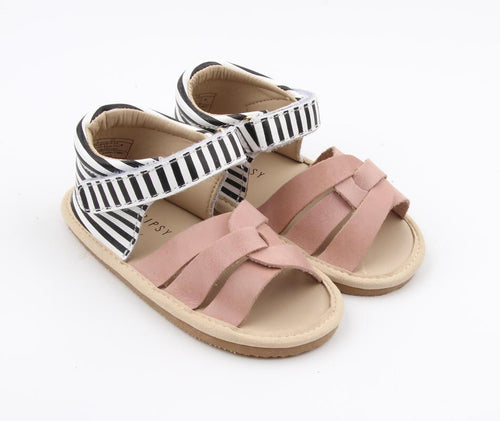 Leather sandals - blush + black stripe