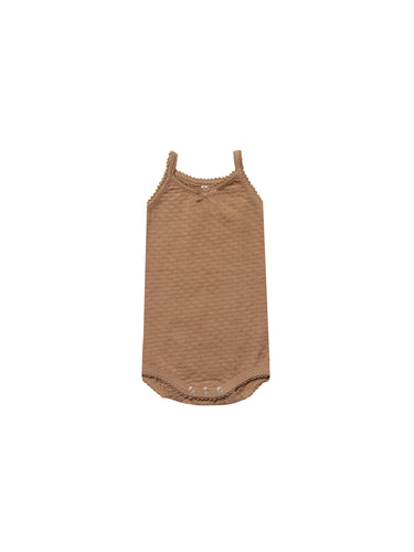 Quincy Mae pointelle tank onesie - copper