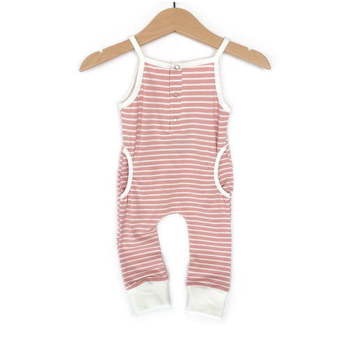 Tank stripe romper - blush