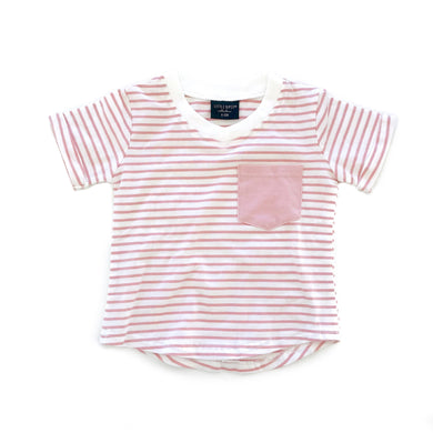 Stripe swoop tee - blush
