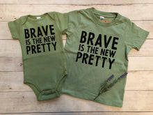 Load image into Gallery viewer, Brave is the new pretty short sleeve onesie / tee