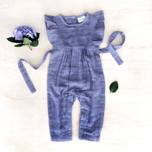 Load image into Gallery viewer, Muslin frill sleeve romper - periwinkle