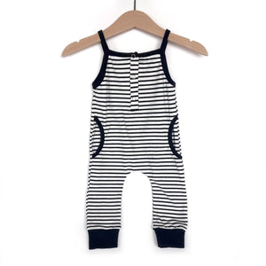 Tank stripe romper - black