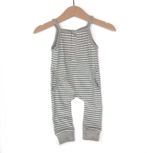 Tank stripe romper - grey