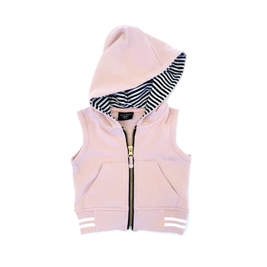 Zip hooded vest - blush