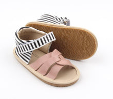 Load image into Gallery viewer, Leather sandals - blush + black stripe