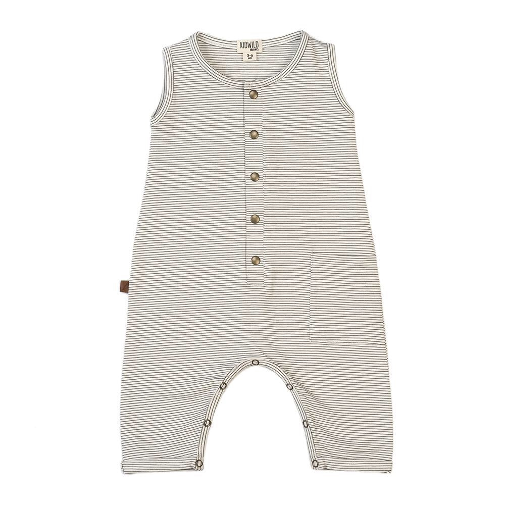 Organic tank romper - pencil stripe