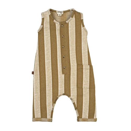 Organic tank romper - yellow stripe
