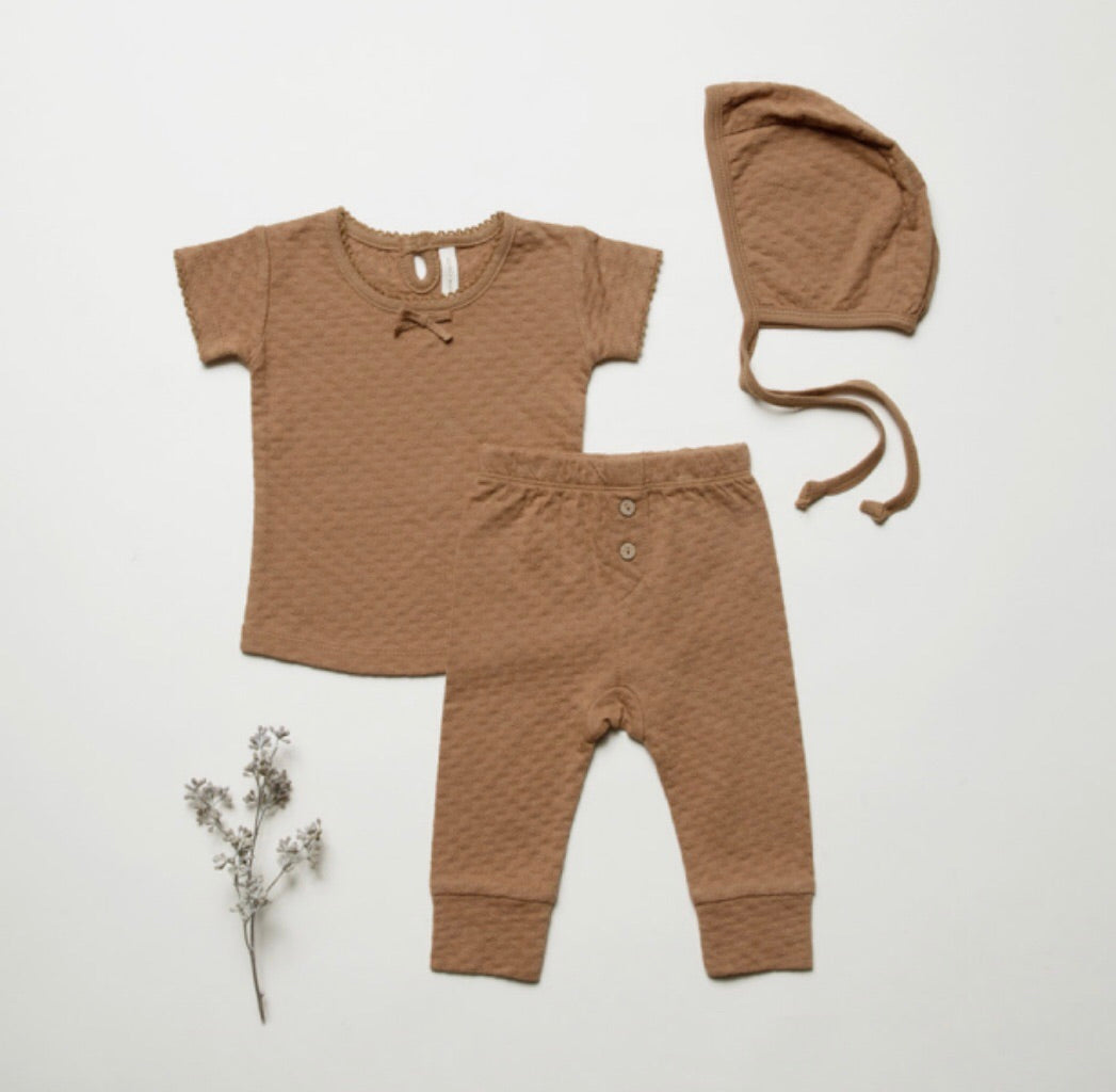 Quincy Mae pointelle tee - copper