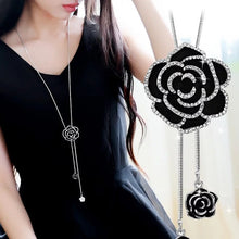 Load image into Gallery viewer, Black Rose Flower Long Necklace