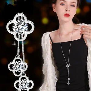 Black Rose Flower Long Necklace
