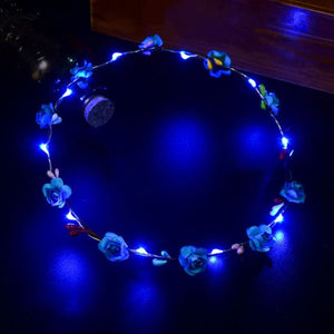 Wedding Party Crown Flower LED Headband