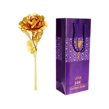 Load image into Gallery viewer, Long Stem Gold Foil Trim Rose