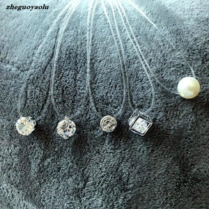 Crystal Zircon Pearl  Necklace