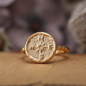 Hammered Compass Ring