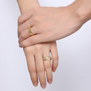Vnox Personalized Gold-color Bands Ring