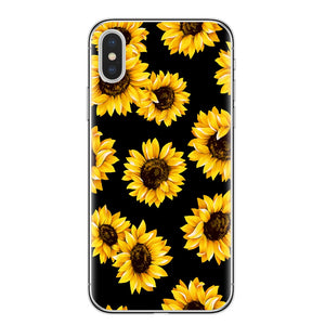 Fashion Summer Daisy Sunflower Floral Flower Soft TPU Phone Case Fundas Coque For iPhone 7 7Plus 6 6S 8 8PLUS X XS Max Shell
