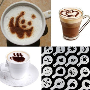 Plastic Cappuccino Coffee Foam Spray Stencils