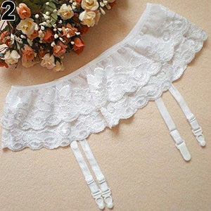 Women Dual Layer Lace Floral G-String Thongs Hold Garter