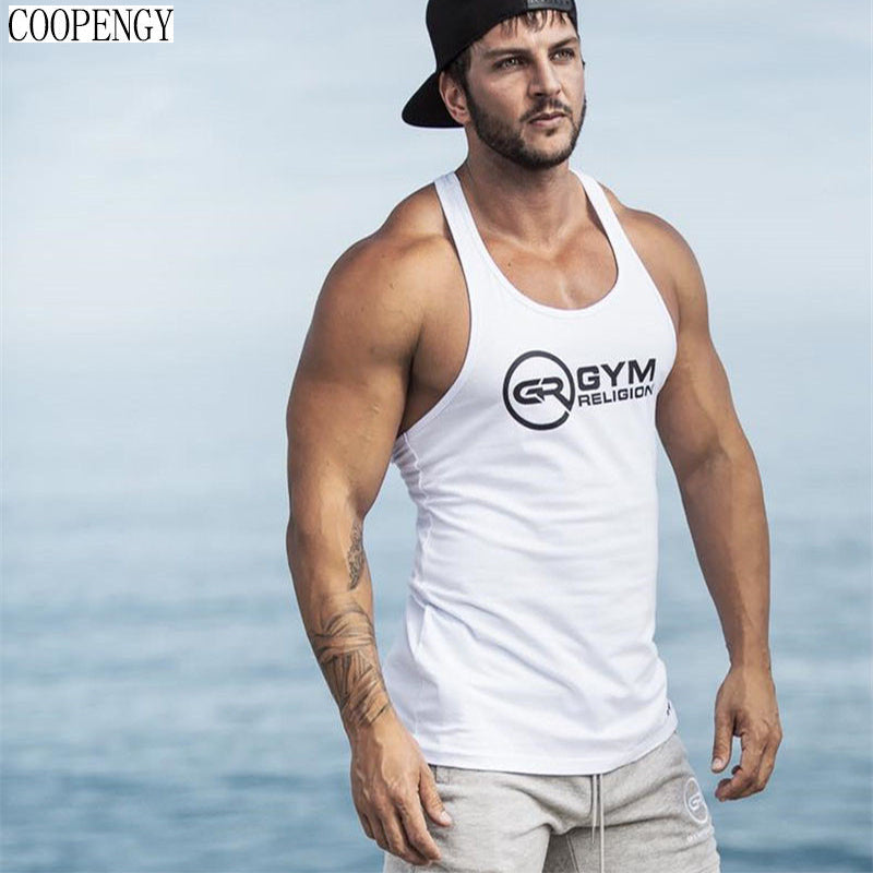 Mens Bodybuilding Tank top COOPENGY 2018 New  sleeveless t shirt Gyms Fitness vest Jogger Casual print  Male clothing