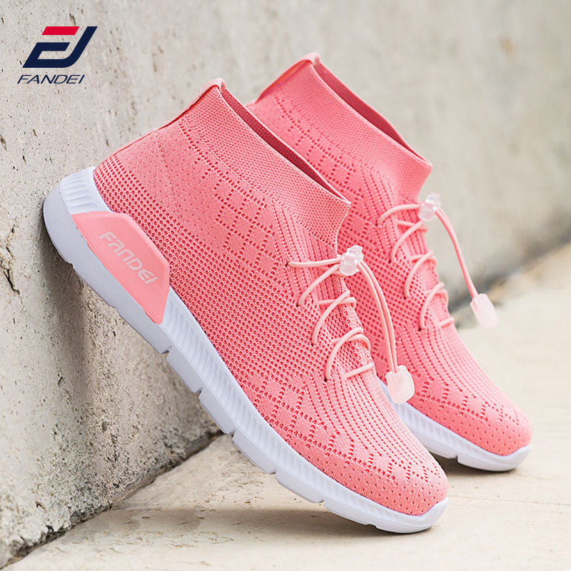 FANDEI spring women running shoes sport shoes breathable mesh women sock sneakers sport walking shoes zapatillas hombre MID Cut