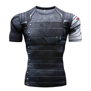 Gyms t-shirt Summer new 3D men's t-shirt Stretch fitness Tops 2018 European American style novelty men's fitness clothing S-4XL
