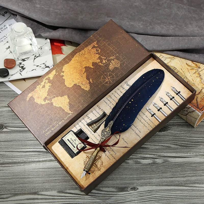Vintage Travel Quill Fountain Pen Set