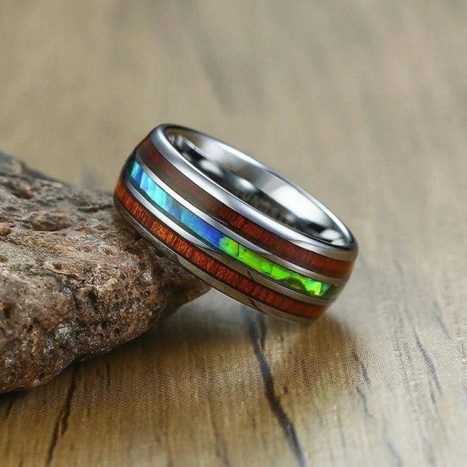 Gents 8mm Koa Wood & Abalone Shell Silver Tungsten Ring