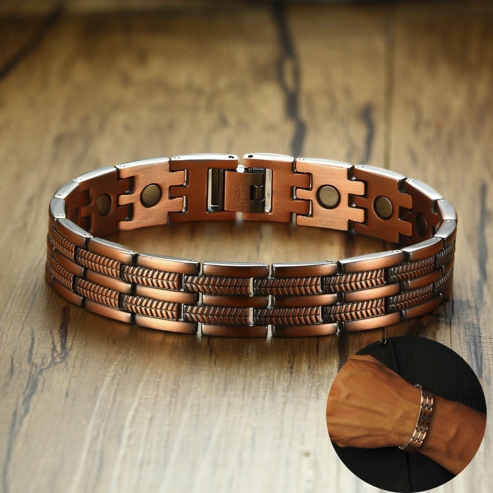 Gents Magnetic Therapy Copper Bracelet (21.5cm - Adjustable)