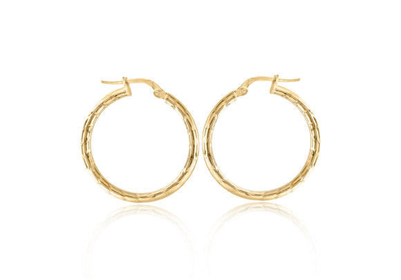 9CT YELLOW GOLD 2MM TUBE 24MM DIAMOND CUT HOOP CREOLE EARRINGS
